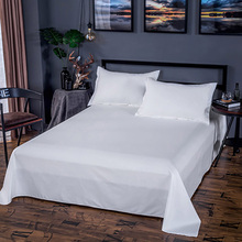Five-Star Hotel Sheet Mattress Cover Tribute Silk 100% Cutton Solid High-End White Fitted Bed Sheet 40S 60S 80S Satin Sheet