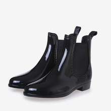 Women Spring Ankle Boots Elastic Band Slip On Low Heels Ankle Rain Boot