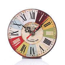 European-Style Creative Retro with Numbers Dial Living Room Desk Clock round Faux Wooden Bedroom Small Clock small scale style paging desk clock black