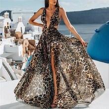 Платье Макси женское на бретельках с леопардовым принтом Осень