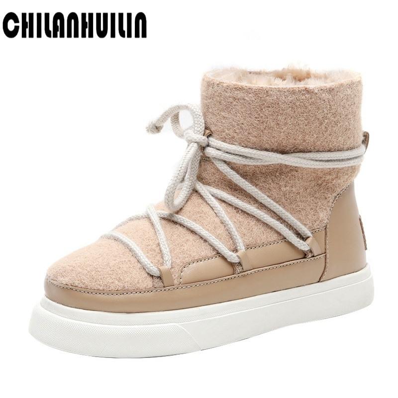classic winter snow boots warm faux fur ankle boots woman boots women shoes fashion female outdoor casual shoes flats platform