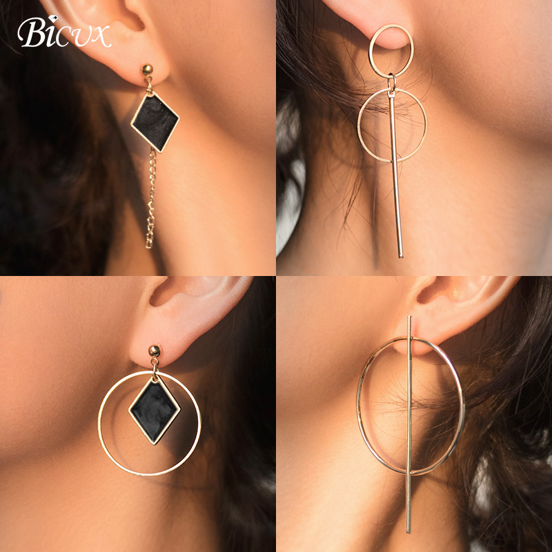 BICUX 2019 New Round Dangle Drop Earrings For Women Fashion Jewelry Gold Silver Color Earrings Gift For Party Best Friend