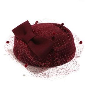 Image 4 - קלאסי צמר מגבעות לבד Felt הפילבוקס כובע צעיף קשת נשים שמלת Fascinator כובע חתונה כובע גבירותיי דרבי המפלגה בארה ב שחור לבן