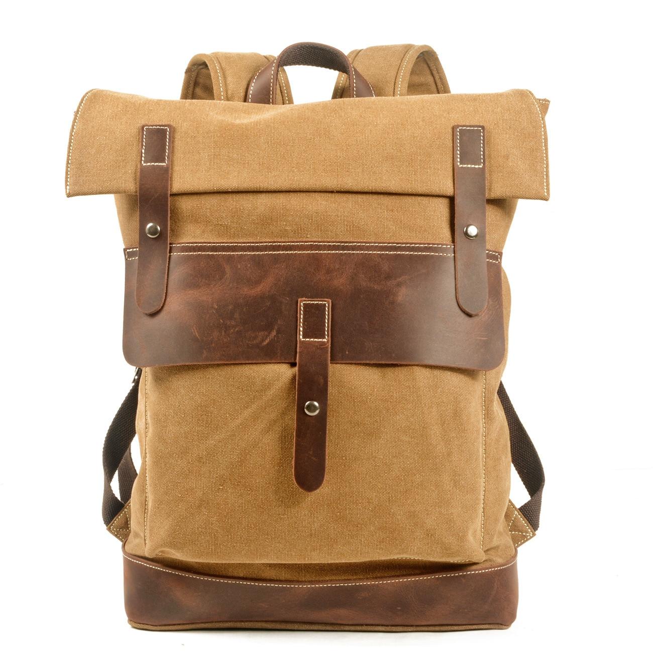 Купить ретро водонепроницаемый холщовый рюкзак уличный походный большая