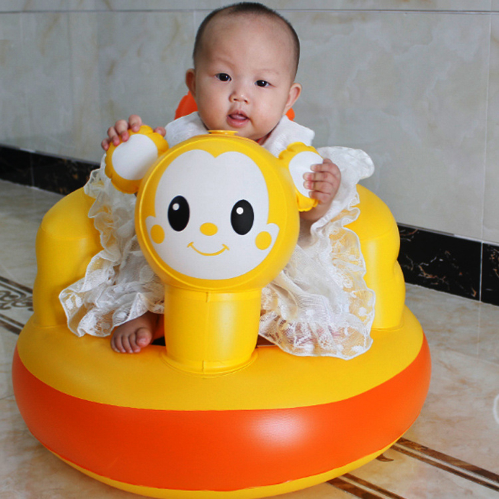 Inflatable Bath Stool Chair For Children Over 3 Months Learn To Sound Thickened Little Golden Rat Multifunctional Baby BB Seat