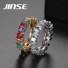 JINSE, ТРАПЕЦИЕВИДНОЕ кольцо с кубическим цирконием, багет, для женщин и мужчин, медь, золото, цвет, мультиколот, CZ, кольцо на палец, хип-хоп, ювелирное изделие, подарок