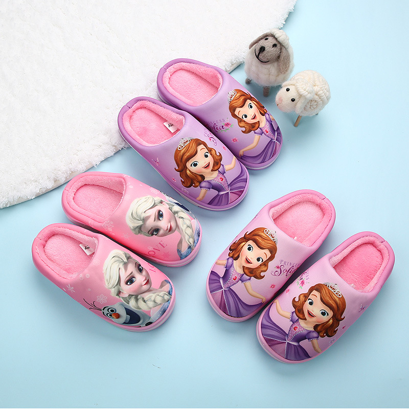 2020 New Winter Plush Slippers Disney Cartoon Frozen Girl's Sneakers Home Casual Shoes Baby Cute Pink Cotton Plush Shoes Cheapest Price From Our Site