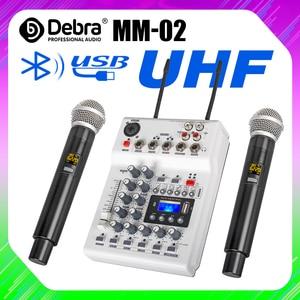 Debra soundcard dj console mixer com 2 canais de áudio uhf microfone sem fio para a gravação do computador em casa dj rede karaoke ao vivo