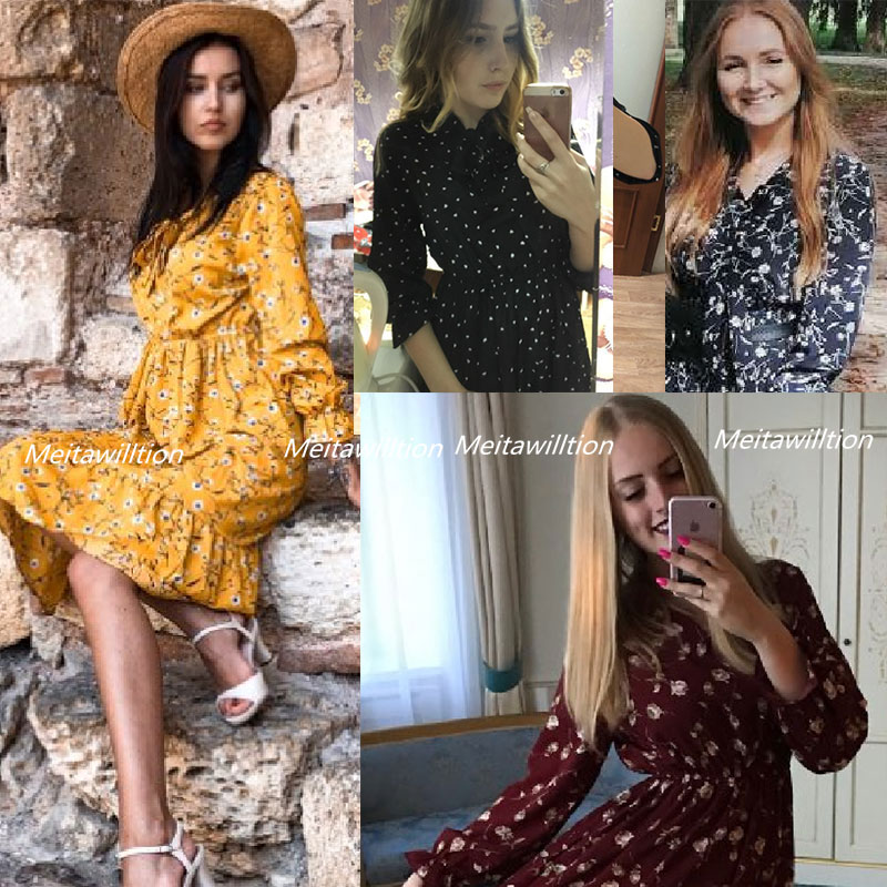 H3d59c4fc0a314bc58867a71947a37567D Summer Autumn Chiffon Dresses 2019 Casual Long Sleeve Floral Print Party Dress Female High Elastic Waist Bohemian Dress Vestidos