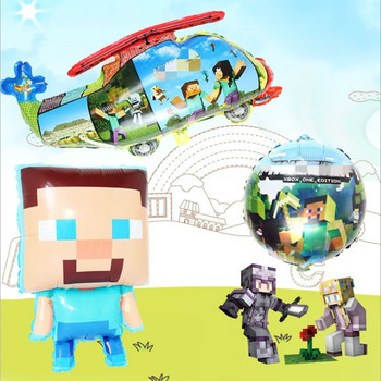 Mining Pixel Game Ballons Plates Tablecloth Baby Shower Birthday Party Decoration Supplies Flags Cups Disposable Tableware lego blocks theme disposable tableware set paper plates cups baby shower birthday party supplies decoration for kids