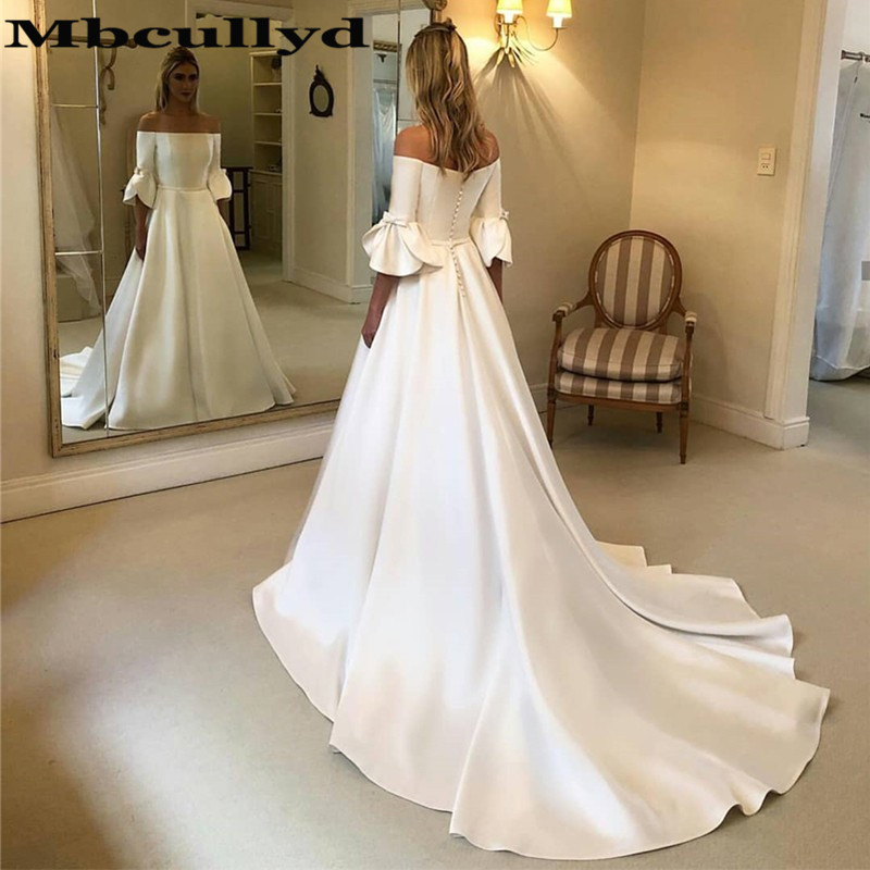 Mbcullyd Strapless Satin Wedding Dress Long 2019 With Half Sleeves Wedding Gowns Cheap Plus Size Vestido De Noiva Custom Made