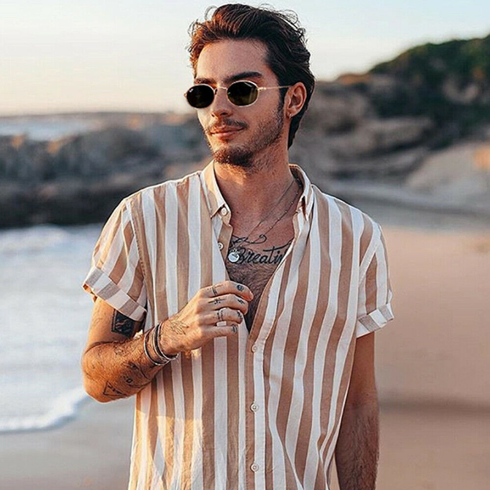 Hot Men Holiday Short Sleeve Shirt Tops Hawaiian Beach Summer Striped Button Turn-down Collar Casual Shirt