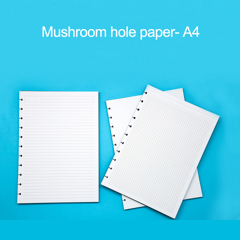 Fromthenon A4 Mushroom Holes Planner Refill Disc Ring Notebook Filler Paper Blank Grid Line Disc-bound System Diary Accessories