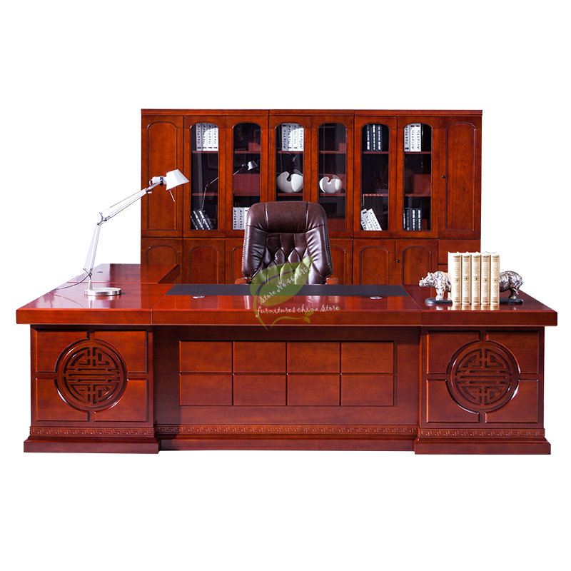 Chinese Office Furniture Boss Meeting Table Office Desk Solid Wood President Table And Chair Combination