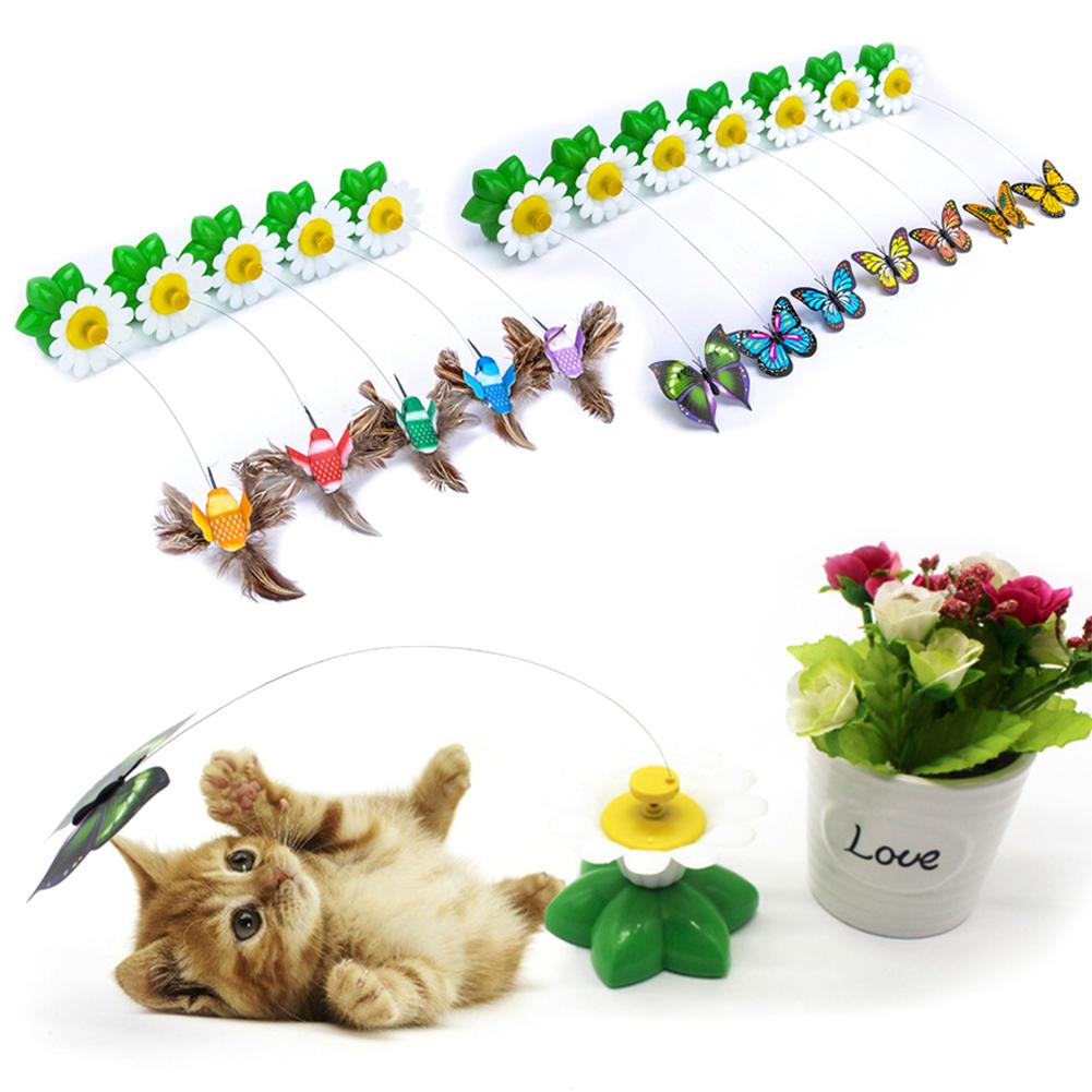 1PC Automatic Electric Rotating Butterfly Hummingbird Shape Cat Teaser Scratch Toy Butterfly Flower Interactive Pets Supplies
