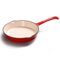 Long Handle Cast Iron Griddles Frying Pan Pot Flat Bottom Frying Pan Frying Pan Non-Stick Steak Grill Cooking Pot