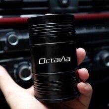 회전 뚜껑이있는 알루미늄 합금 Skoda OCTAVIA 2 3 A7 VRS MK2 MK3 a5 RS 2013 2020 용 고 난연 휴대용 자동차 재떨이