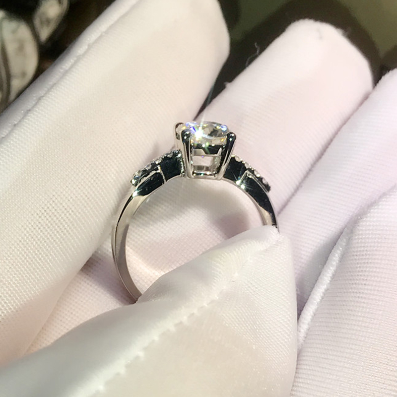 Top SaleµMoissanite-Ring Engagement-Ring White Gold Luxury Anniversary Round 14K 1ct Cut 2ct 4-Claws
