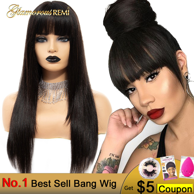 $ US $51.89 Glamorousremi Malaysian Straight Lace Front Wigs With Bangs 150% Density Human Remy Hair Pre Plucked Glueless Lace Front Wig