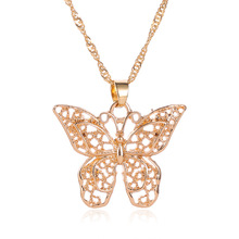 Hollow out double metal butterfly pendant European pendant butterfly necklace floral enamel hollow out pendant necklace
