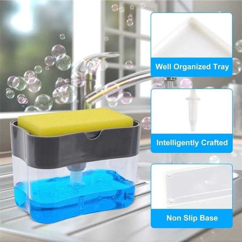 Multifunction Sponge Rack Soap Dispenser 13Ounces Soap Pump Sponge Caddy Bathroom Kitchen Organizer Household Cleaning Accessory