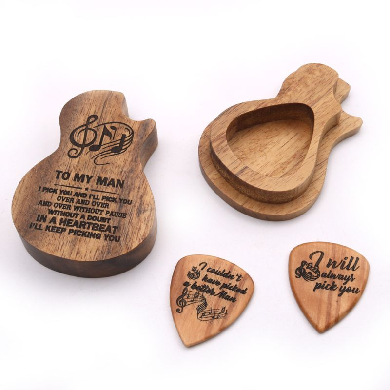 3 Pcs/set Handmade Wooden Guitar Pick Box And Picks Paddles For Guitarist Music Lovers Gifts
