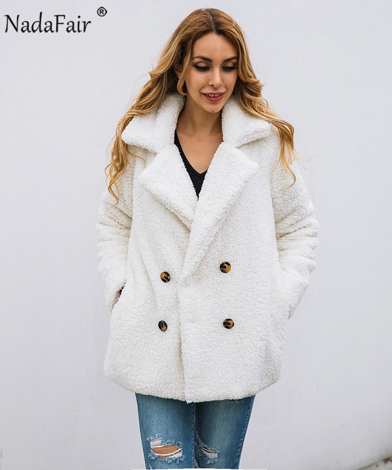 Nadafair plus size fleece faux fur jacket coat women winter pockets thicken teddy coat female plush overcoat casual outerwear 9