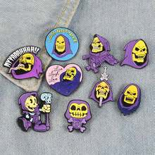 Halloween Skeleton Serie Spilla Del Fantasma Del Cranio Spille Punk Gotico Scuro di Scheletro Del Cranio Collection Bara Zombie Dello Smalto Spilli Regalo(China)