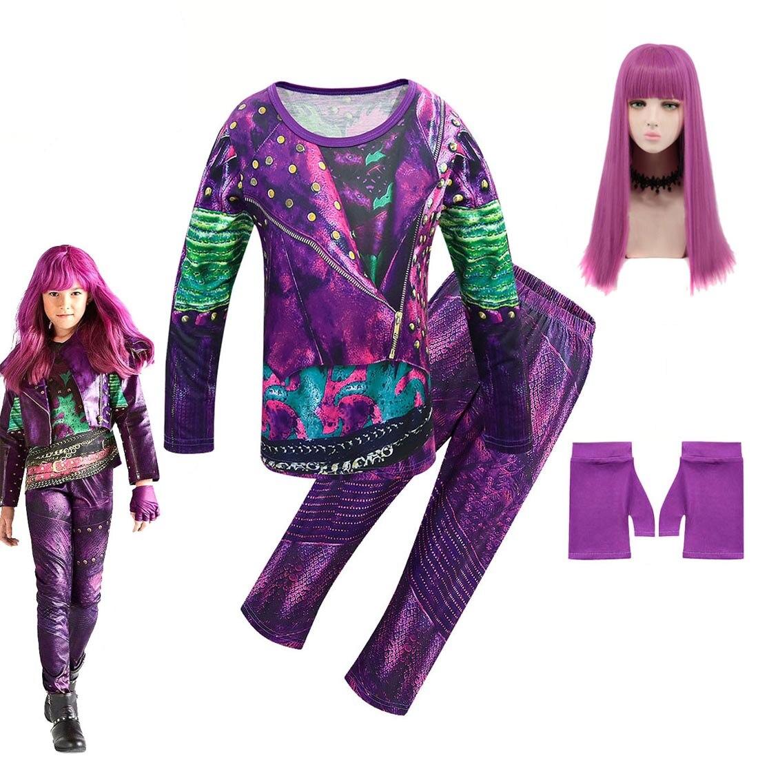 Изображением героев фильма «наследники» 3; Одежда для девочек; Детский костюм на хеллоуин для девочек; Эви Mal Одри косплей для детей Топы с дл...
