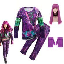 Descendentes 3 meninas roupas de halloween trajes para crianças evie mal audrey cosplay crianças manga longa tops + calças conjuntos