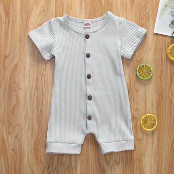 Newborn Infant Baby Girl Boy Clothes Short Sleeve Button Solid Color Romper Jumpsuit Outfit Summer цена 2017