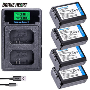 Image 1 - 4Pcs 2000mAh NP FW50 NP FW50 Batteria + LED USB Doppio Caricatore per Sony Alpha a6300 a6500 a7 7R a7R a7R II a7II NEX 3 NEX 3N NEX 5