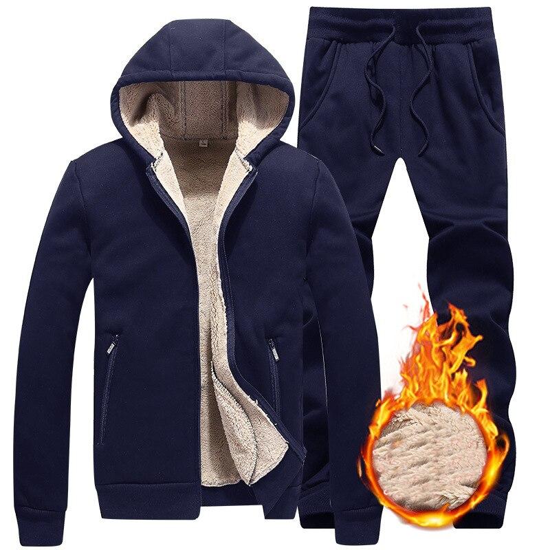 Winter Men Sweat Suits Fleece Sportwear Suit Jacket+pants Warm Mens Sport Tracksuit Set Casual Hoodie Thick Slim Fit Sets,ZA315