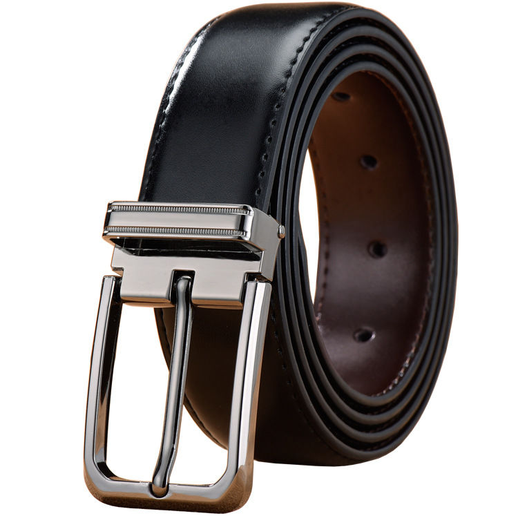 Men's Belts Real Genuine Leather Belts With Reversible Rotated Buckle 2 Sides Black/Brown In 1 Belt Pin Buckle Waist Strap Belt