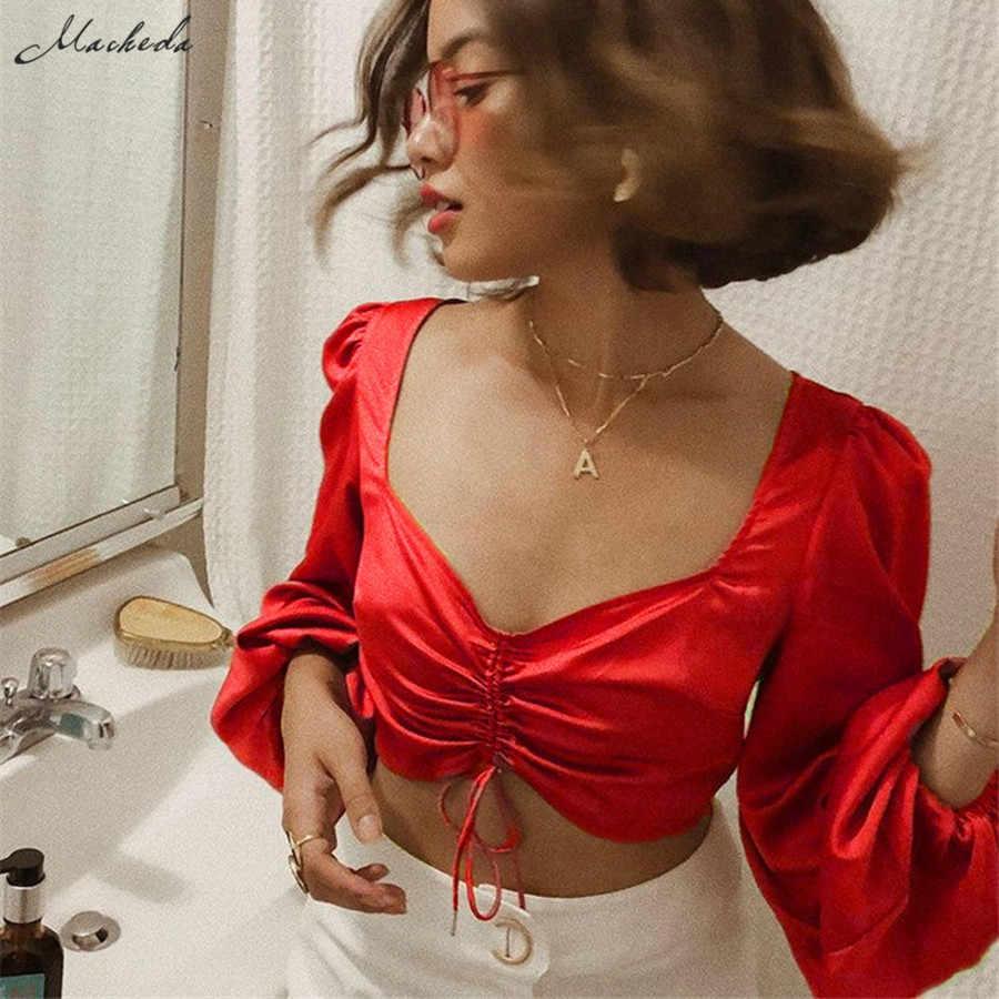 Macheda خمر الأحمر الساتان المحاصيل أعلى المرأة الخريف مثير منخفض الصدر V الرقبة الدانتيل يصل قميص سيدة عارضة اقتصاص 2019 جديد