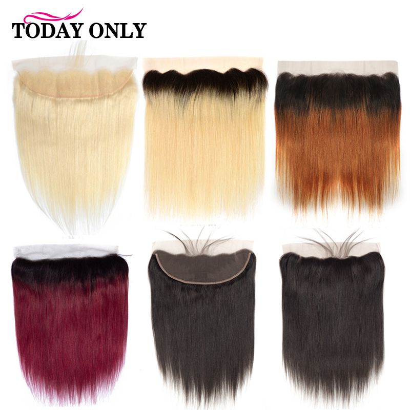 Brazilian Straight Hair 13X4 Ear to Ear Lace Frontal Closure With Baby Hair 613 Blond Ombre Human Hair Frontal Remy Hair image