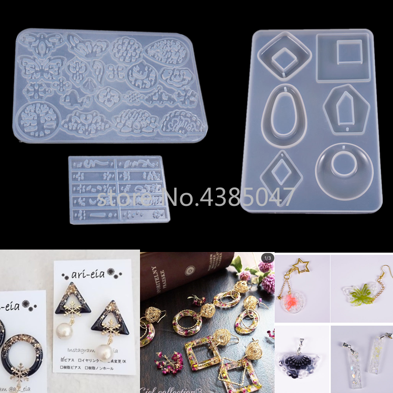 DIY Pendant Earrings Variety Collection Round Square Oval Whole Plate Jewelry Decorative Silicone Mold