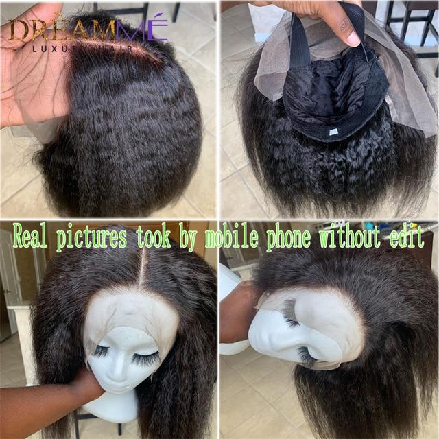 13x6 Brazilian Kinky Straight Lace Front Human Hair Wigs PrePlucked With Baby Hair Italian Yaki Kinky Wig For Women 150% Density
