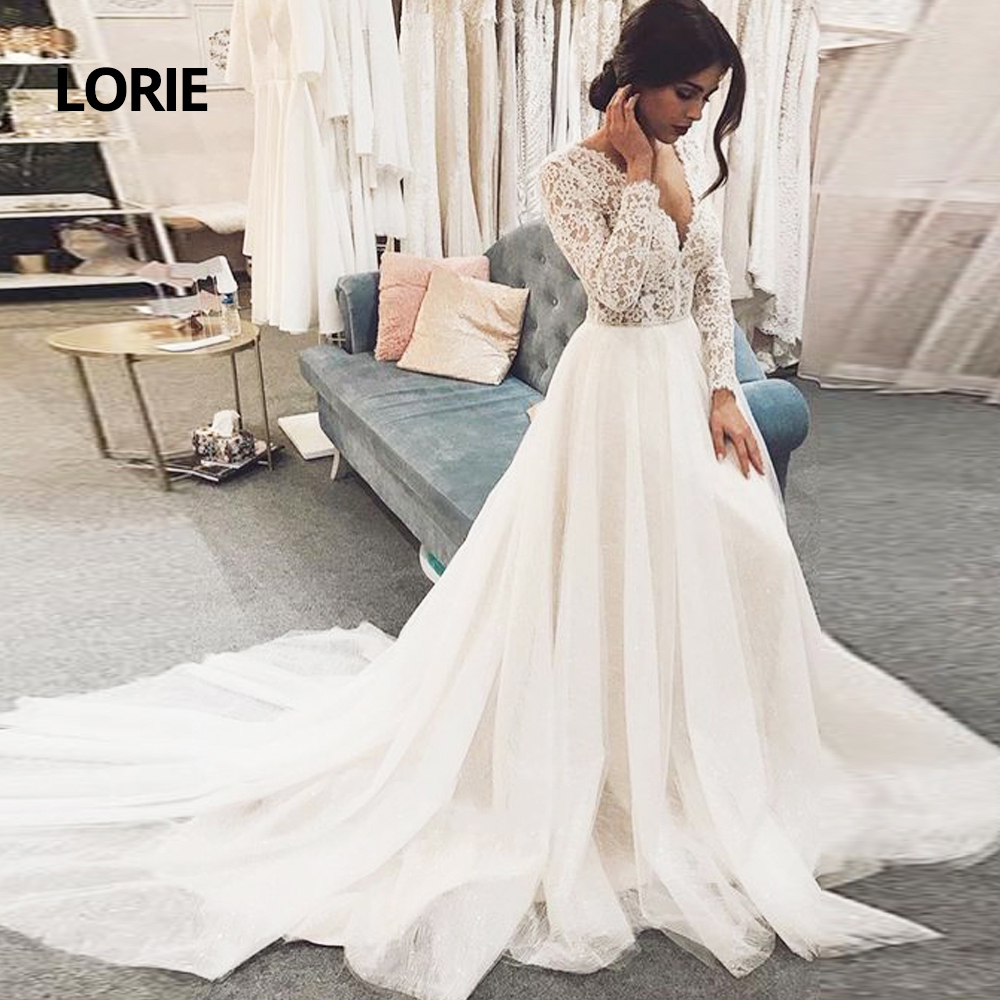LORIE Vintage Ball Gown V Neck Long Sleeves Lace Wedding Dresses With Train Elegant Princess Bridal Gowns New Vestido De Noiva