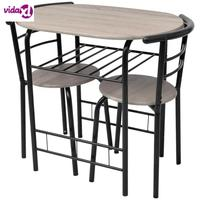 VidaXL 3 Pcs Bar Stool Table Set Indoor Kitchen Dining Cafe Furniture Bar Table Chair For Home Breakfast Table Wooden V3