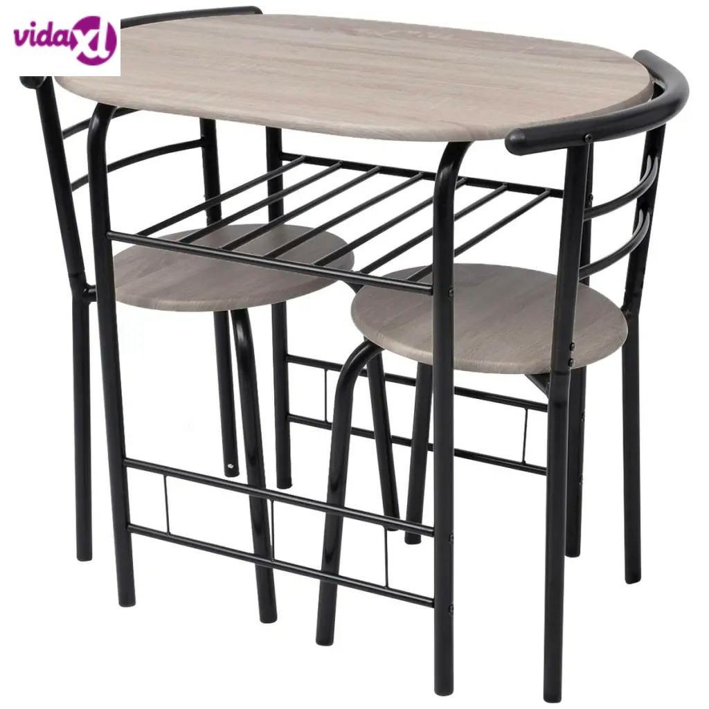 VidaXL 3 шт. барный табурет, настольный набор, домашняя кухня, столовая мебель для кафе, барный столик стул для домашнего завтрака, деревянный стол V3