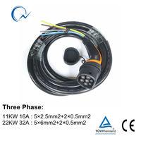 16A 32A 유형 2 플러그 (EV 측면 용 7m 케이블 포함) IEC 6219-2 유럽 표준 수 플러그 단상 3 상 IEC 암 AC 플러그
