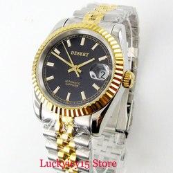 DEBERT zegarek męski szafirowe szkło 36mm pozłacany zegarek Auto data klasyczny styl automatyczny ruch