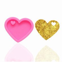 HMZCN Bright  Valentine Heart Shape Mold Diy Keychain Jewelry Epoxy Mould Silicon Resin Crafting Keychain Love Silicone Molds