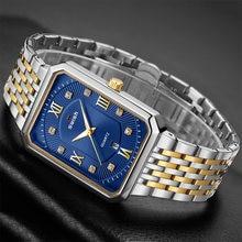Retângulo relógios homens warterproof esportes dos homens relógio de topo marca luxo aço pulseira negócios quartzo relógio pulso relogio masculino