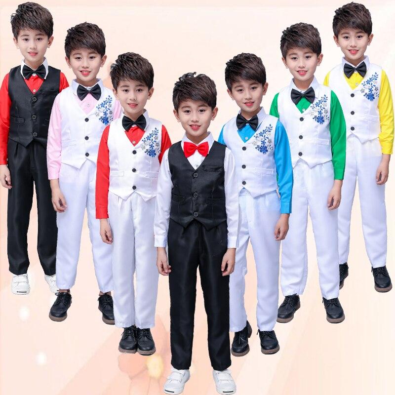 New Children'S Dance Wear Host Costume Modern Boys Short-Sleeved Stage Performance Chorus Clothing Shirt+Vest+Pants+Tie DWY2067