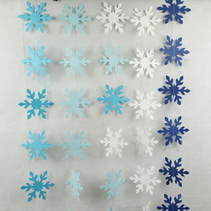 Christmas Party Decor Snowflake Paper Garlands Banner Snowflake Hanging Bunting for Christmas Party Home Decoration