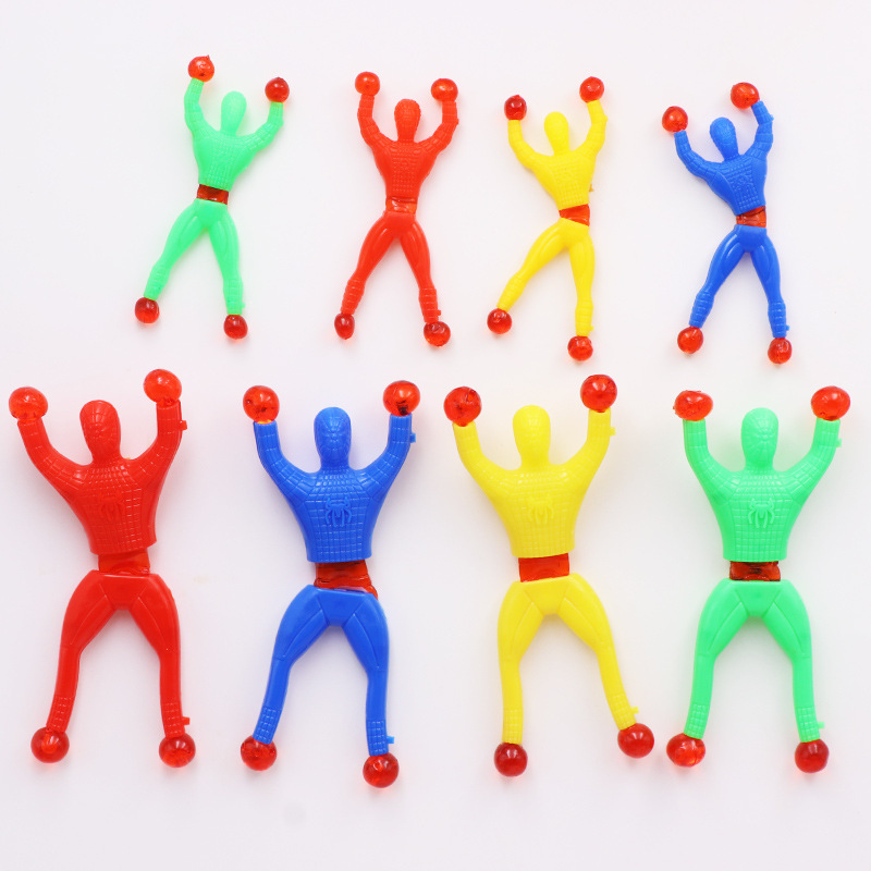10pcs/set 9cm*3cm Silica Gel Robot Climbing Spider-Man Sticky Climbing On Glass For Kids Funny Toy Boy