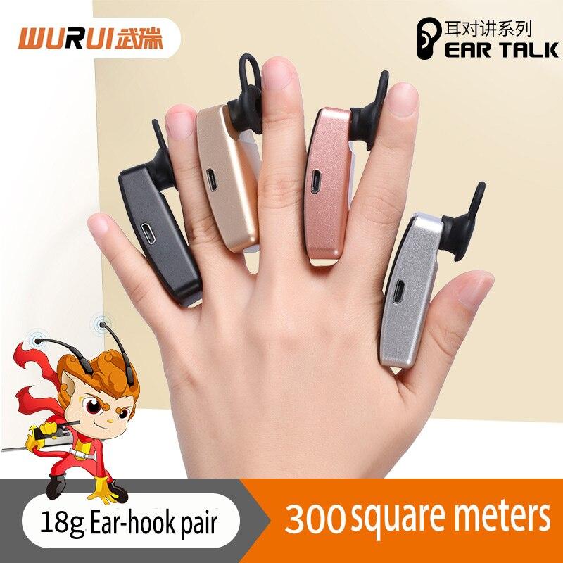 2 pièces casque sans fil talkie-walkie Wurui mini puissant auriculaire talkie-walkie portable oreille-crochet radio bidirectionnelle talkie-walkie