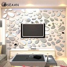 SEEAN Modern Mirror Environmental Protection Removable background Wall Decoration Wallpaper Sticker Pebble Romantic Room Decor